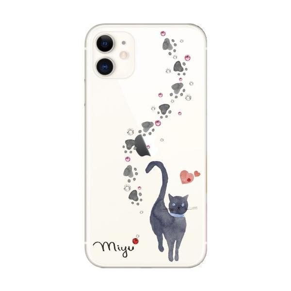 スマホケース iPhone11 ケース アイフォン11 送料無料 スワロフスキー 名入れ 黒猫 laugh-life 03