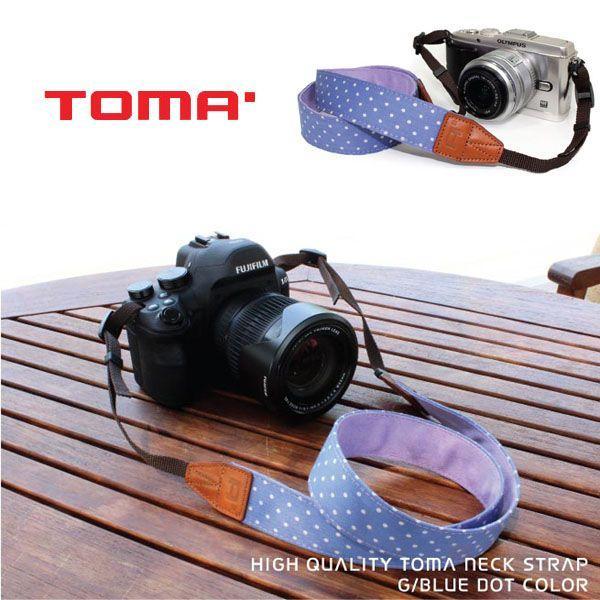 TOMA おしゃれカメラストラップ TNS005D BLUE DOT