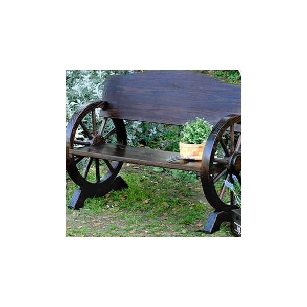 車輪ベンチ 幅1100 ガーデニング チェア 椅子 カントリー ローズ イングリッシュ ガーデン 庭 玄関 屋外 おしゃれ オシャレ 2P 二人掛け 天然木 木製