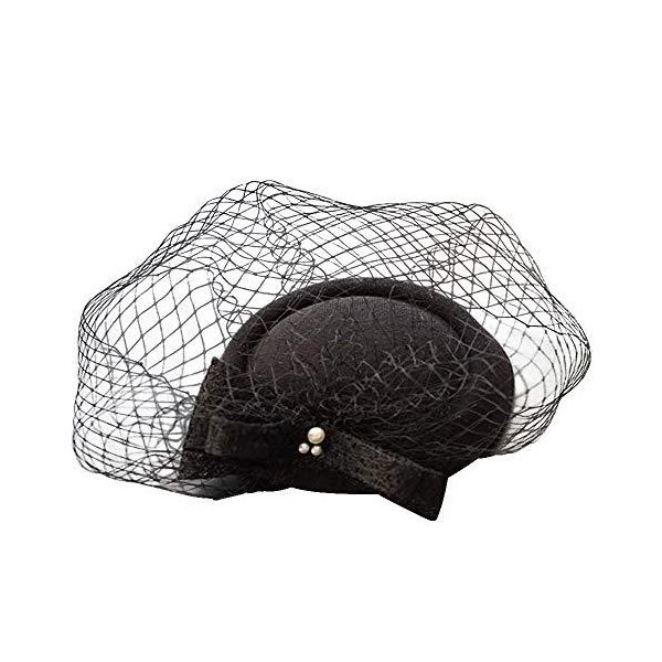 EverFairyカクテルハットトーク帽ウェディングベールレディース花嫁用?婚式パーティー二次会帽子髪飾りチュールヘッドドレス