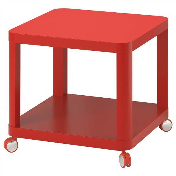 IKEAサイドテーブルキャスター付きTINGBYレッド50x50cm¥750代引き可