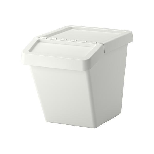 IKEA分別ゴミ箱 ふた付SORTERAホワイト60L送料¥750!代引き可
