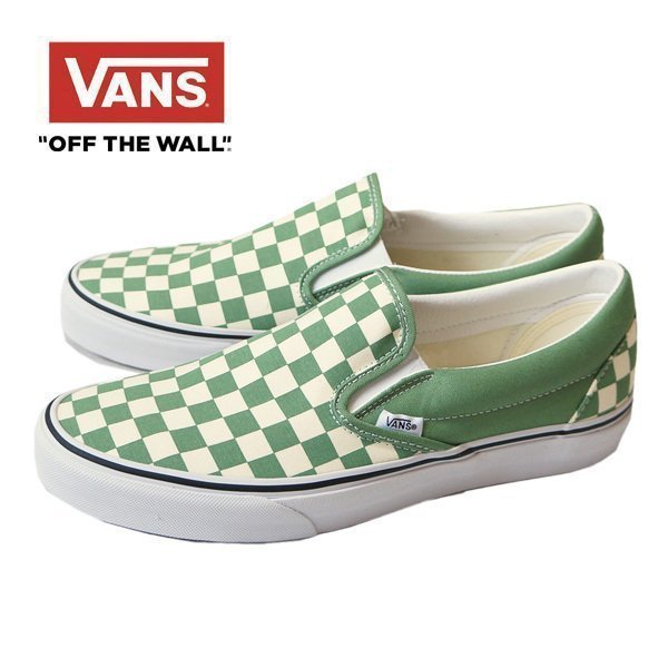 VANSCLASSICSLIP-ON(CHECKERBOARD)SHALEGREEN/TRUEWHITEバンズスリッポンスニーカ