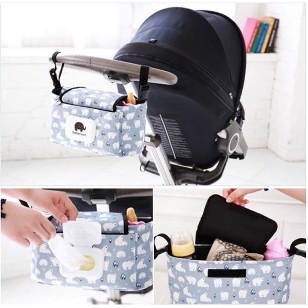 ベビーカーバッグ オーガナイザー 収納バッグ ママ助け フラップ付きマザーズバッグ多機能小物入れ ドリンクホルダー ティッシュポーチ付き|lcsime-shop|05