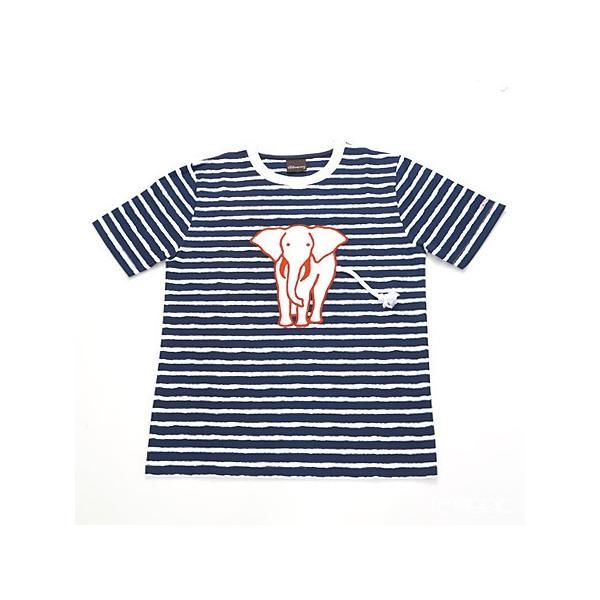 ジムトンプソン 子供服 Tシャツ M(8-11歳) ホワイトゾウ/ストライプ/ダークブルー