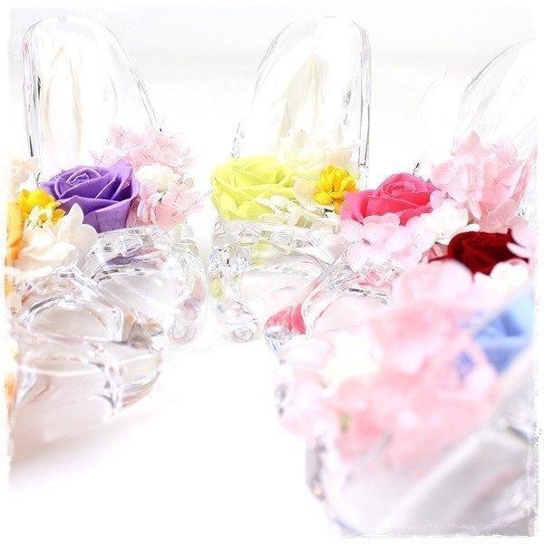 プリザーブドフラワー 名入れ バラ 一輪 ガラスの靴 誕生日 アレンジメント 女性 彼女 お祝い 玄関 安い 名前入り le-premier 08