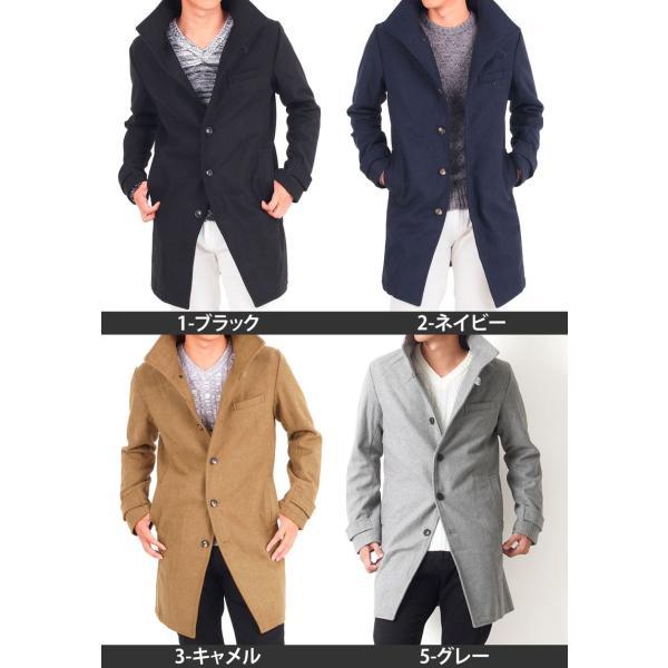 ロングコート メンズ コート チェスターコート メンズ メルトン ウール イタリアンカラー ロング丈 スタンドネック 防寒|leadmen|05