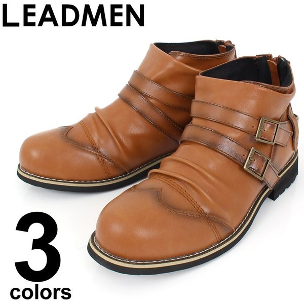ブーツ メンズ ショートブーツ ワーク マウンテンブーツ エンジニアブーツ 靴 ドレープ アンティーク加工|leadmen