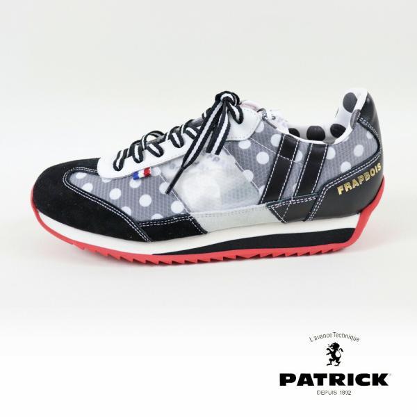 クーポン利用不可 パトリック PATRICK FRATHON フラソン ライン入り スニーカー ドット 柄 靴 黒 ブラック レディース シューズ|leap-town