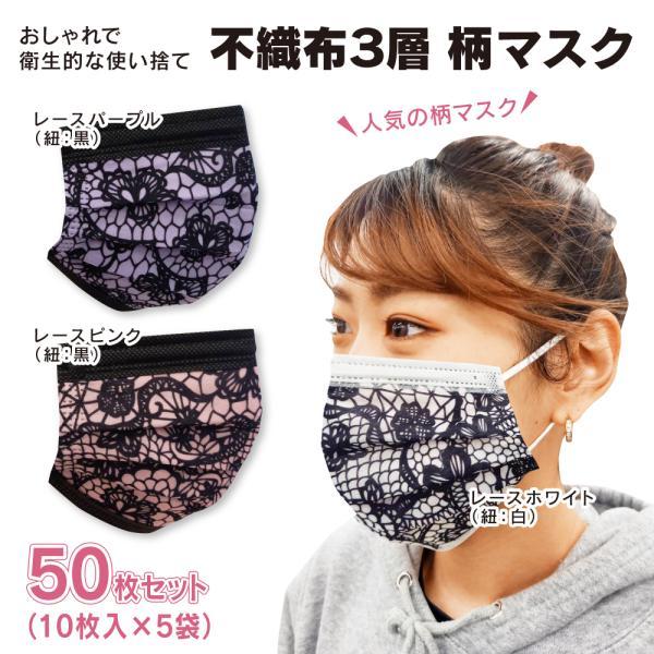 不織布3層レース柄マスク使い捨てデザインマスク50枚セット(10枚入×5袋)FMD-MSK5