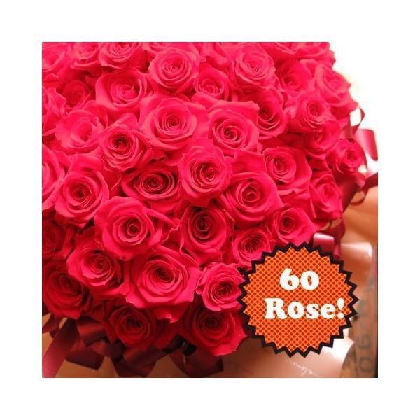 還暦祝い プレゼント 花 赤バラ60本使用 プリザーブドフラワー クリアーケース付き