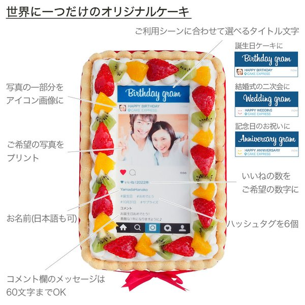 インスタ風写真ケーキ S バースデーケーキ 生クリームのショートケーキ|lecadeaukotobuki|02