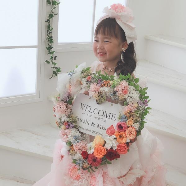 プリザーブドフラワー アレンジメント 結婚式 ウェルカムボード ハートリース|lecocon|02