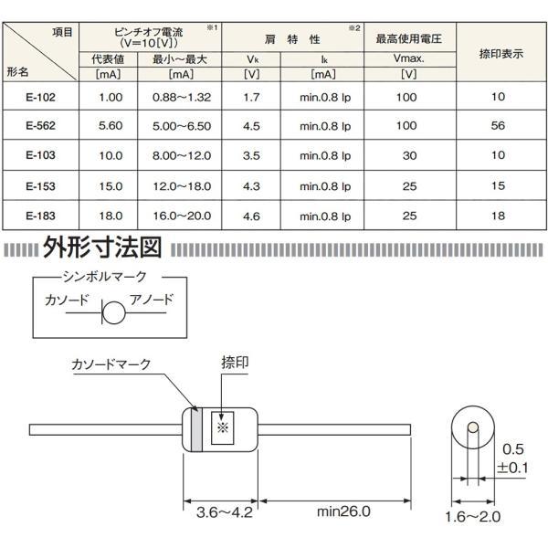 定電流ダイオード 石塚電子製 CRD E-102 1mA LEDを楽々点灯!|ledg|02