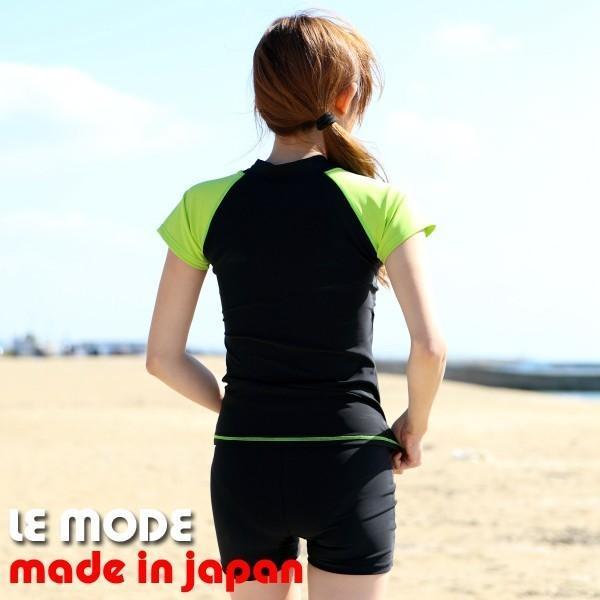 フィットネス水着 レディース 競泳水着 半袖 セパレート水着 スイムウェア 練習用 日本製 メール便送料無料 133 lemode1 11