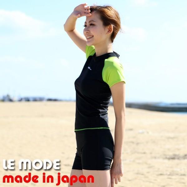 フィットネス水着 レディース 競泳水着 半袖 セパレート水着 スイムウェア 練習用 日本製 メール便送料無料 133 lemode1 10