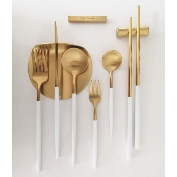 クチポール風 カトラリーセット オリジナル 基本5本+カトラリーレスト1個 スプーン フォーク ナイフ cutipol風 北欧 cesa beams 結婚祝い 食器
