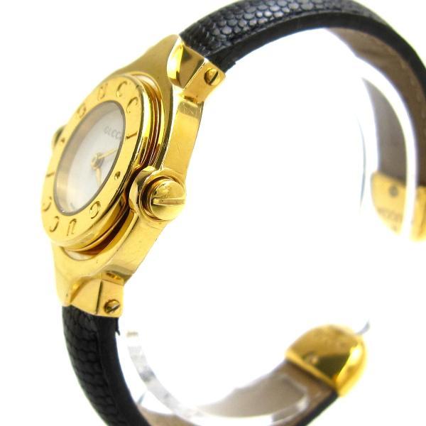 グッチ 時計 ターンGダイヤル レディース ゴールド バングルウオッチ 白文字盤 GUCCI レア