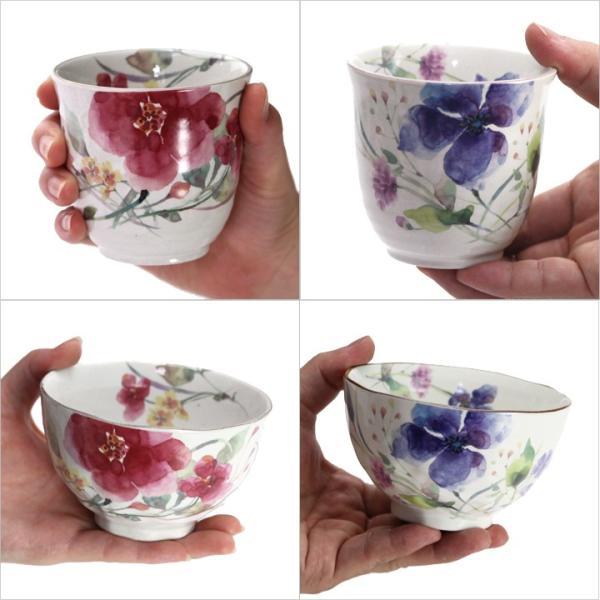 食器 ギフト 夫婦茶碗 結婚祝いのプレゼントに。夫婦茶碗と湯呑と箸セットペア(花水彩) 和食器 和風 食器セット|leun|02