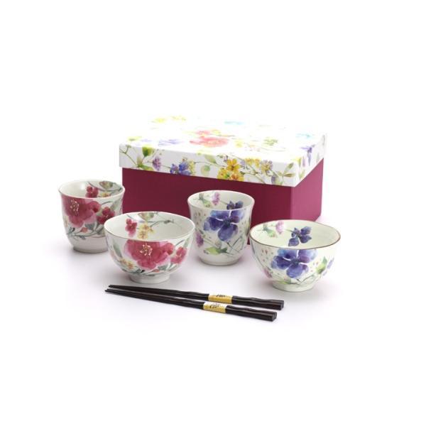 食器 ギフト 夫婦茶碗 結婚祝いのプレゼントに。夫婦茶碗と湯呑と箸セットペア(花水彩) 和食器 和風 食器セット|leun|04
