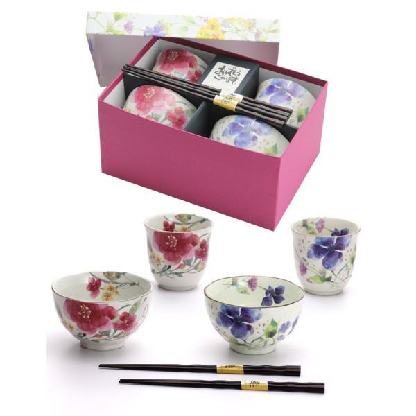 食器 ギフト 夫婦茶碗 結婚祝いのプレゼントに。夫婦茶碗と湯呑と箸セットペア(花水彩) 和食器 和風 食器セット|leun|05