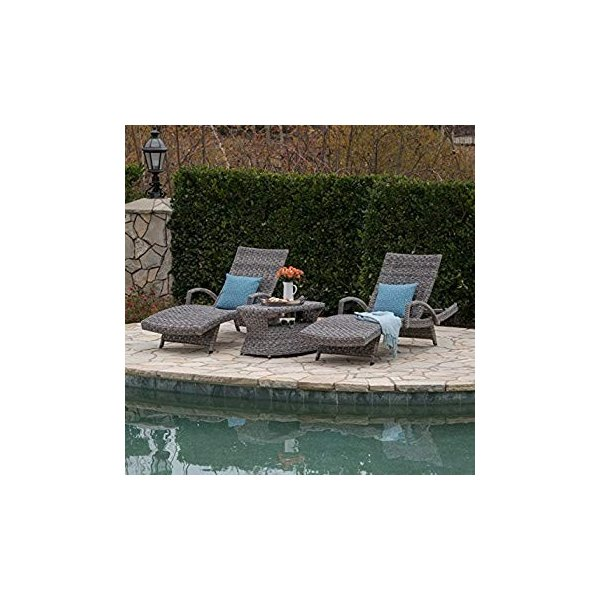 Outdoor Wicker Chaise Lounges in Grey Arthur