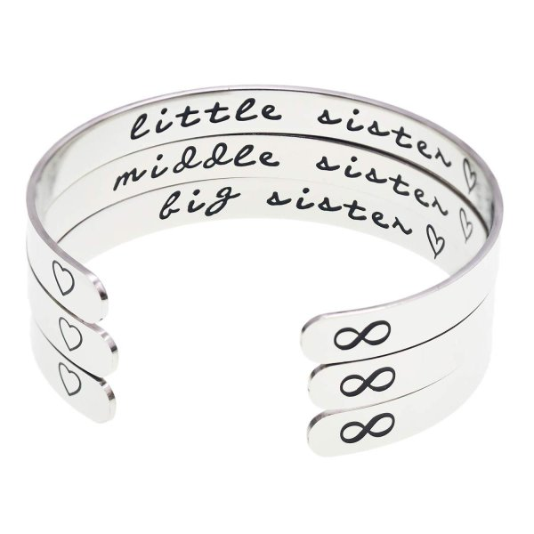 Melix Home Big Sis Middle Sis Little Sis Sister Cuff Bracelet Family F level1
