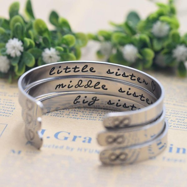 Melix Home Big Sis Middle Sis Little Sis Sister Cuff Bracelet Family F level1 03