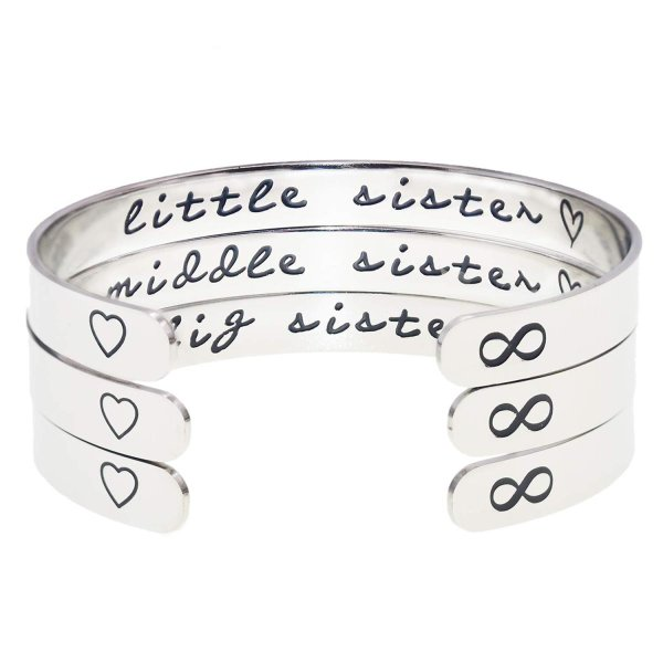 Melix Home Big Sis Middle Sis Little Sis Sister Cuff Bracelet Family F level1 05