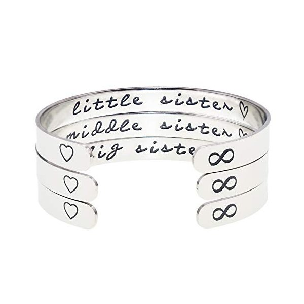 Melix Home Big Sis Middle Sis Little Sis Sister Cuff Bracelet Family F level1 08