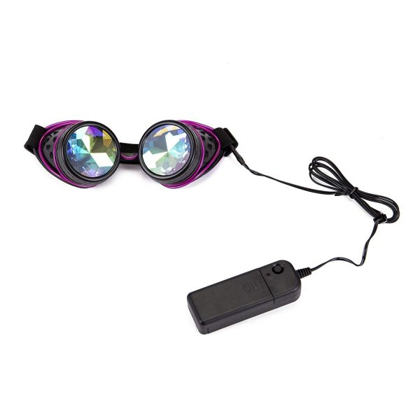 Lelinta New Kaleidoscope Goggles Steampunk illuminated Rainbow Crystal Glasses