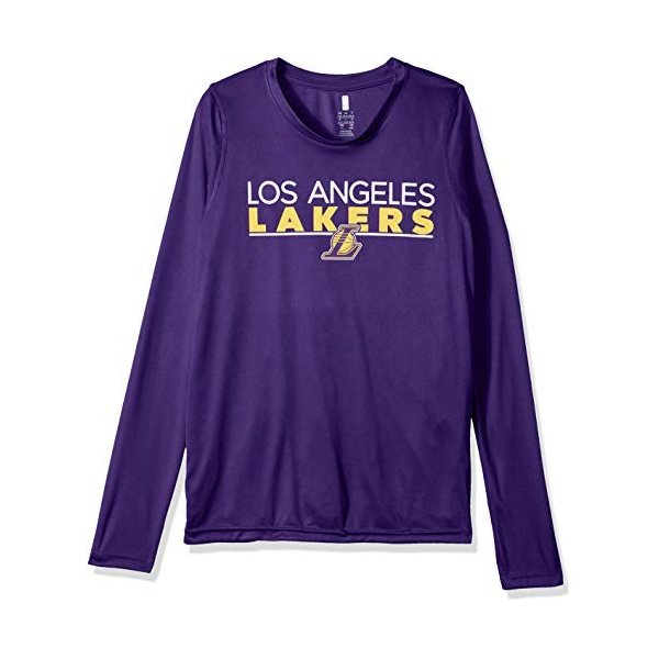 8 Outerstuff NBA NBA Youth Boys Los Angeles Lakers Tactical Stance Long Sleeve Performance Tee Youth Small Purple
