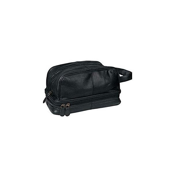French Morocco Leather Black Dwellbee Classic Leather Toiletry Bag and Dopp Kit
