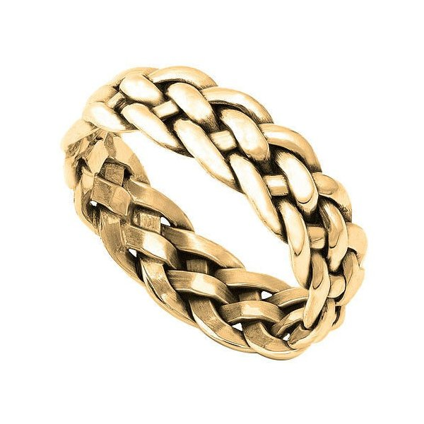 14k Yellow Gold Plated Infinity Braid Eternity Band Genuine Sterling Silver Ring