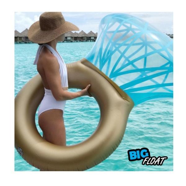 浮き輪 指輪 浮輪 うきわ リング ダイヤモンド ダイヤ 大型 大きい ビッグ フロート リング ビーチ プール SNS インスタ リングプールフロート 夏 プロポーズ|lfs|09