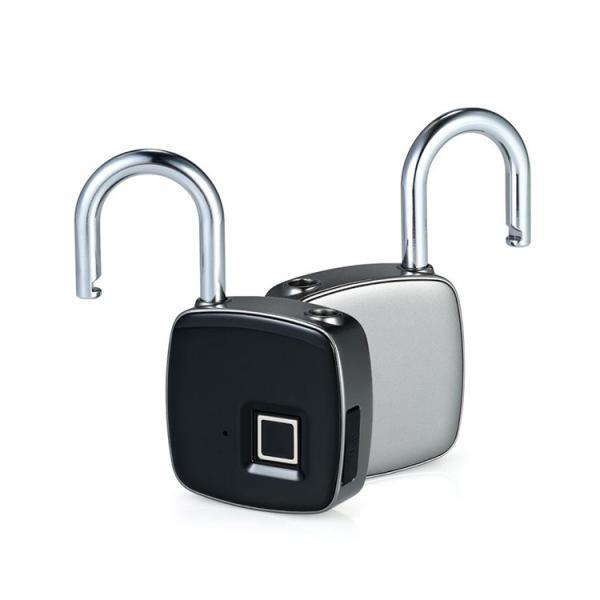鍵が要らない 指紋認証のスマート南京錠 スマートロック Touch ID 防犯 指紋認証 南京錠 アプリ不要 防水・防塵設計 長時間使用 USB充電 暗証番号不要 生体認証 lfs 19