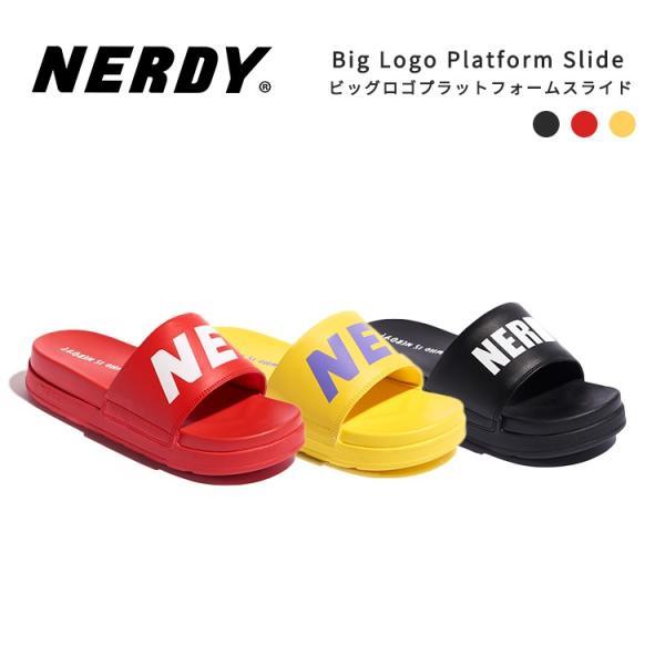 NERDY ノルディ サンダル Big Logo Platform Slide 韓国 ZICO 原宿 メンズ レディース ユニセックス スポーツ nerdy 正規品|lfs