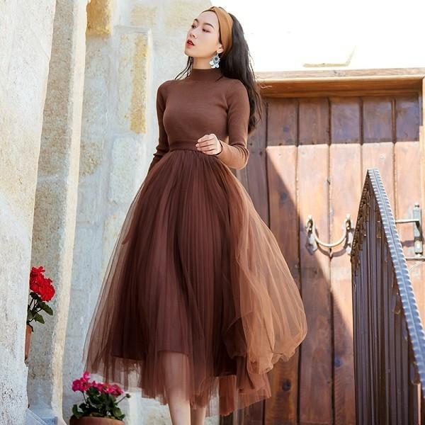c2ebe1357afc9 韓国ドレス 通販 韓国ワンピース 無地 チュールスカート 40代 30代 20代 50代 ...