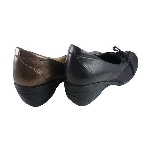 リーガルコーポレーション ストレッチトラベルパンプス セルジュ ブラック ブロンズ CP51 婦人靴 抗菌 防臭 吸汗 速乾