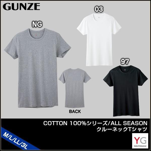 【A】グンゼ YG コットン100% 年間 クルーネック 半袖Tシャツ(M・L・LL・3Lサイズ)YV0013N [m_a]|liberty-h