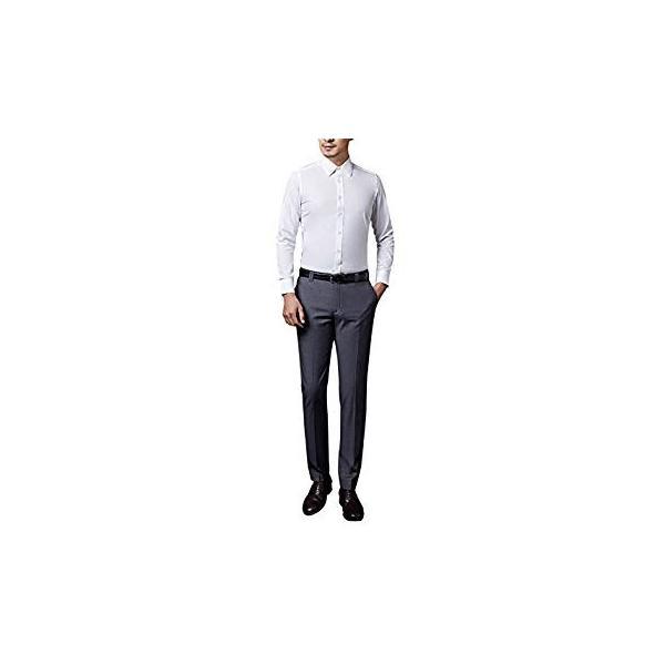 VYOOU メンズ スラックス ビジネス 通勤 ノータック スリム 高品質 薄手 厚手 春 夏 秋 冬 オールシーズン (36, グレー)|liberty-online|14