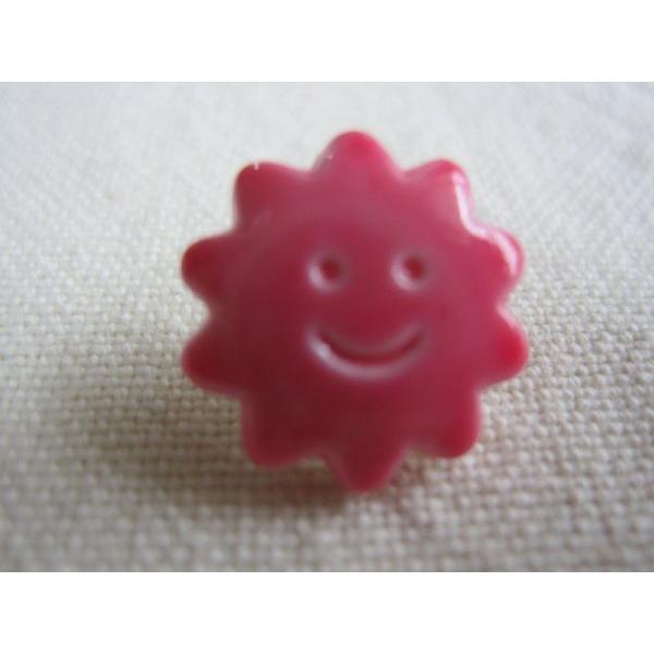 手芸用ボタン Bouton soleil gossy 光沢の有るボタン 太陽 ピンク 1個 〈ウルトラモッド〉