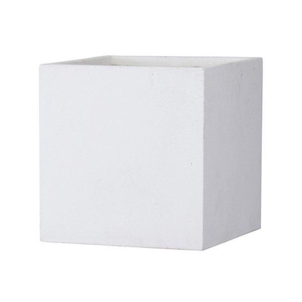 植木鉢 大型 軽量 ファイバークレイ製 バスク 外寸60cm キューブ ホワイト