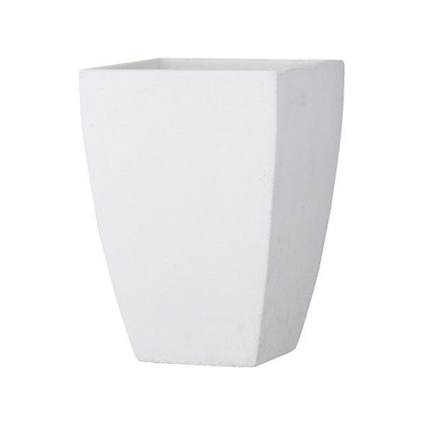 植木鉢 大型 軽量 ファイバークレイ製 バスク 外寸44cm スクエアー ホワイト
