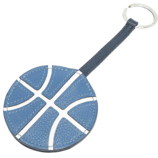 美品エルメスバスケットボールバッグチャームエバーカラーアズールC刻印(2018年製)キーリングキーホルダー0043HERMES