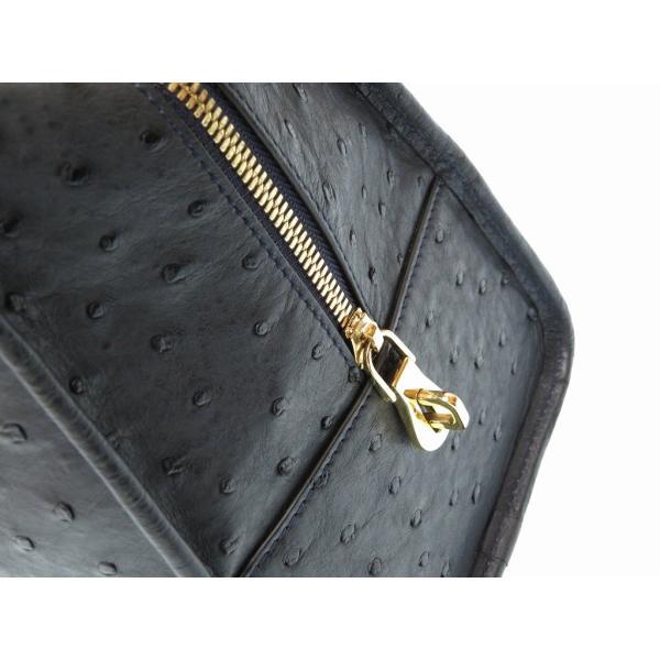 美品 ロエベ アマソナ36 オーストリッチ ハンドバッグ ネイビー ゴールド金具 0088 LOEWE