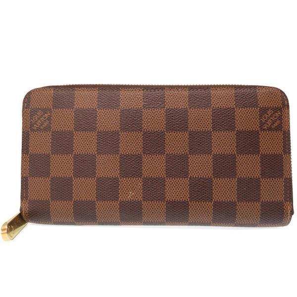 ルイヴィトン ダミエ ラウンドファスナー 長財布 N60015 ブラウン LV 0123 LOUIS VUITTON