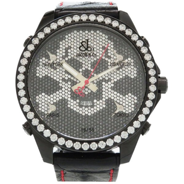 新品同様ジェイコブ全面純正ダイヤ5タイムゾーン55本 スカルクオーツ腕時計ダイヤモンドブラック黒0043JACOB&CO