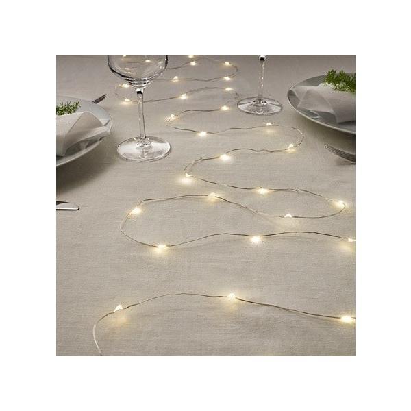 IKEA イケア 送料750円 VISSVASS ヴィスヴァス LEDライトチェーン 全40球, 室内用, 電池式 シルバーカラー クリスマス 電飾 サイズ全長: 4.9 m