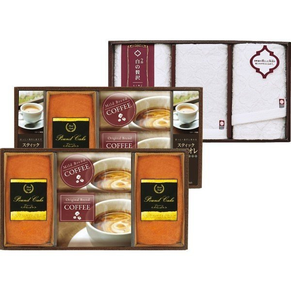 今治製タオル(白の贅沢)&金澤パウンドケーキ・珈琲セット (IK−J) 21-7623-027 スイーツ ギフト 洋菓子 セット 詰め合わせ 内祝